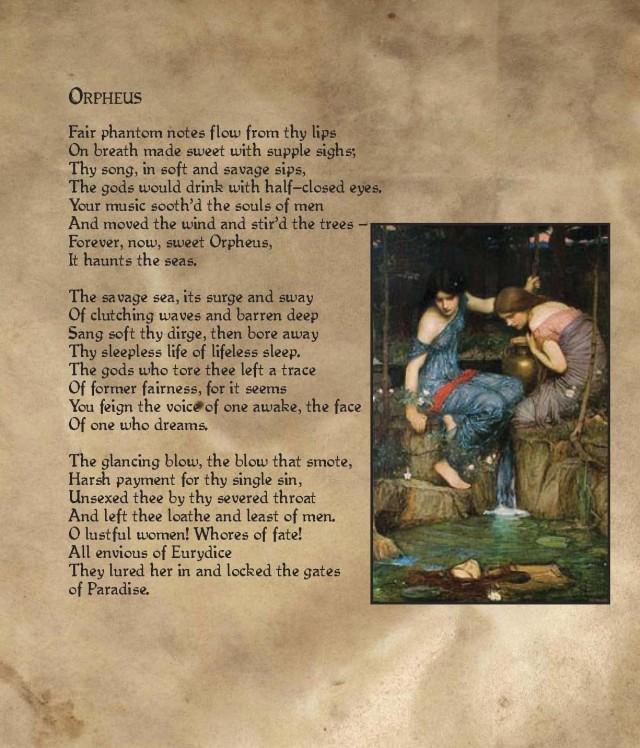 Orpheus poem by Kevin Nicholas Roberts